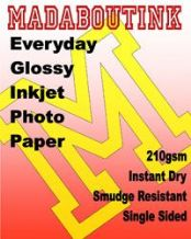 Single Sided Gloss Inkjet Glossy Photo Paper 210gsm 100 A4 Sheets
